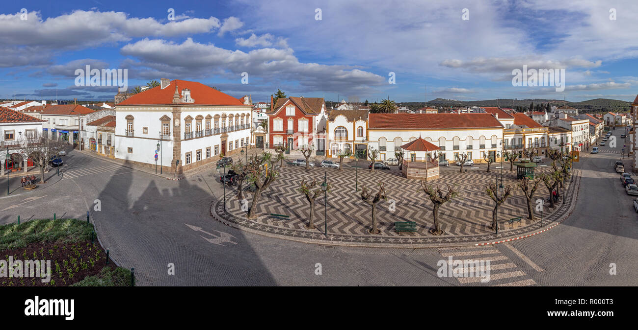 Alter do Chao, Portugal. Largo Barreto Caldeira Square with Alamo Palace in the left, bandstand and typical Portuguese cobblestone pavement Stock Photo