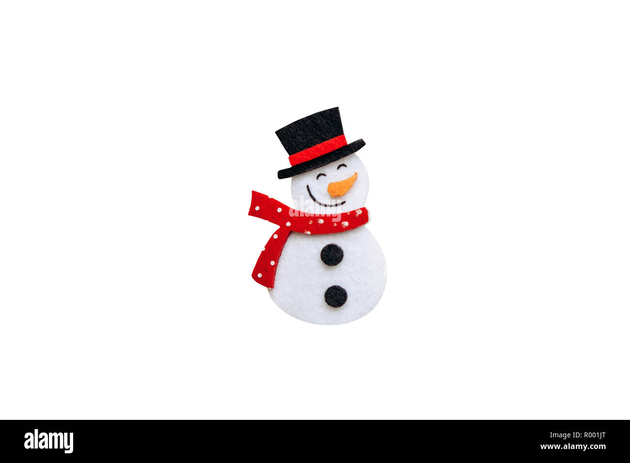 Christmas toy or snowman decoration detail in black hat and red scarf isolated on white background. Stock Photo