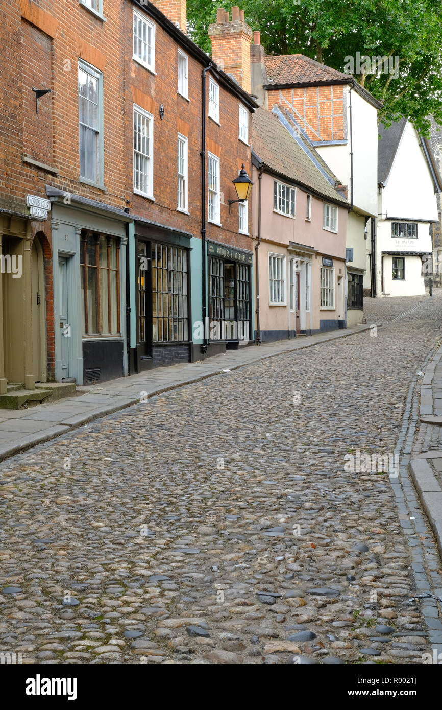 Elm Hill, a cobbled street in Norwich, East Anglia - Stock Image