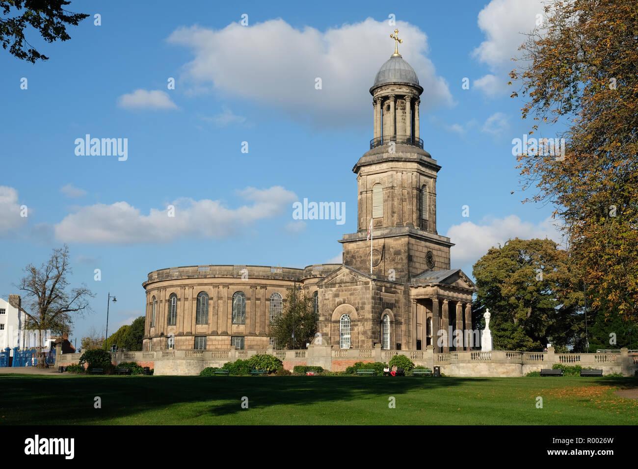 The Georgian church of St Chad, a prominent landmark in Shrewsbury, England - Stock Image