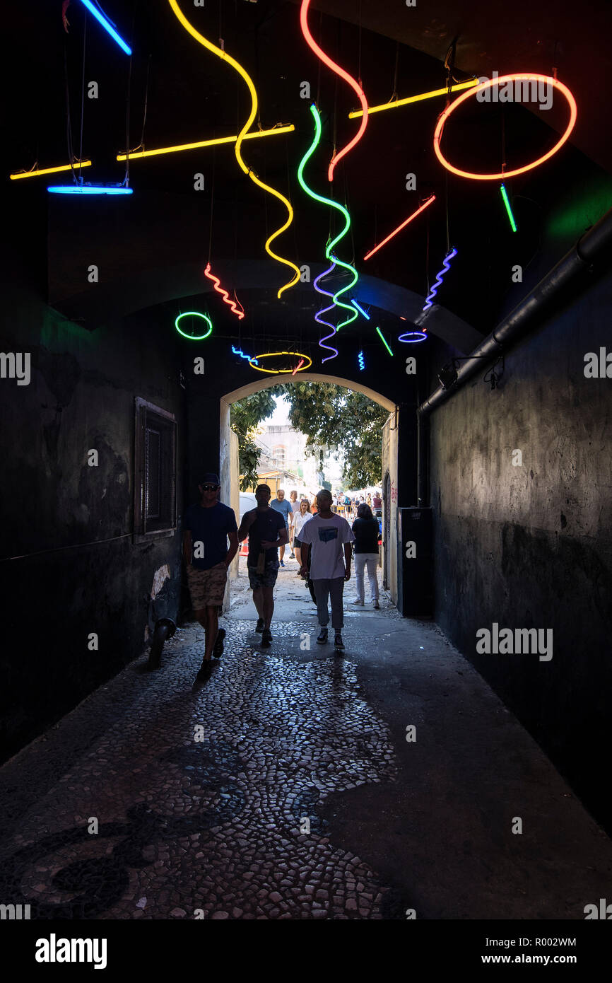 Neon lights at the entrance to LX Factory, Lisbon, Portugal. - Stock Image