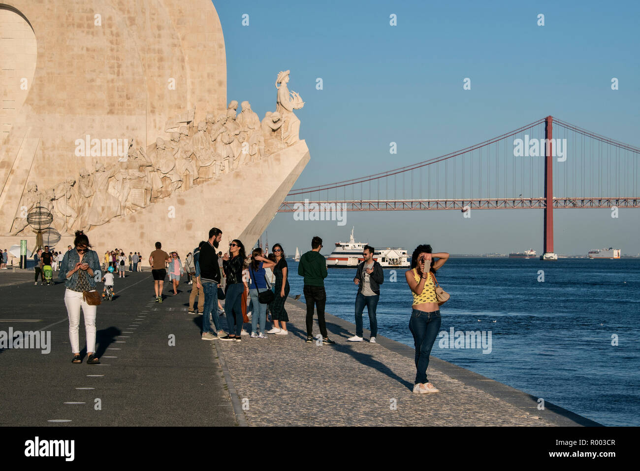 Monument to the Discoveries, Padrao dos Descobrimentos, on the banks of the Tagus River  (Rio Tejo) in the Belem district, Lisbon, Portugal. - Stock Image