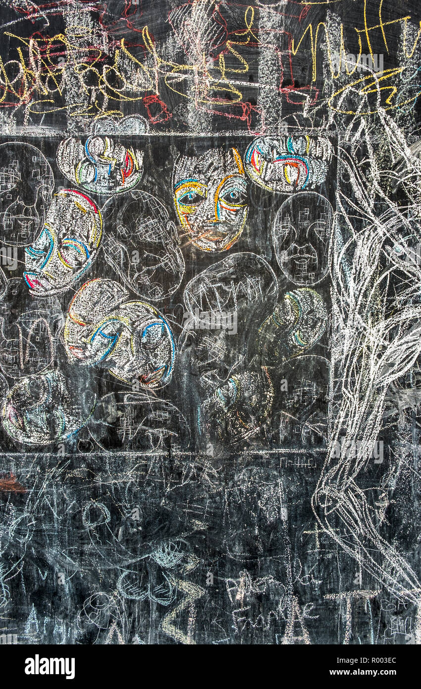 heads, chalk drawing at a public blackboard - Stock Image