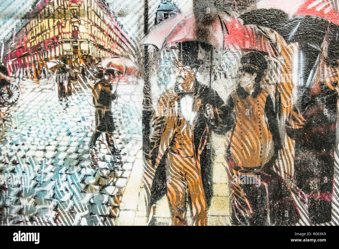 street art version of gustave caillebotte`s 'paris street , rainy day' - Stock Image