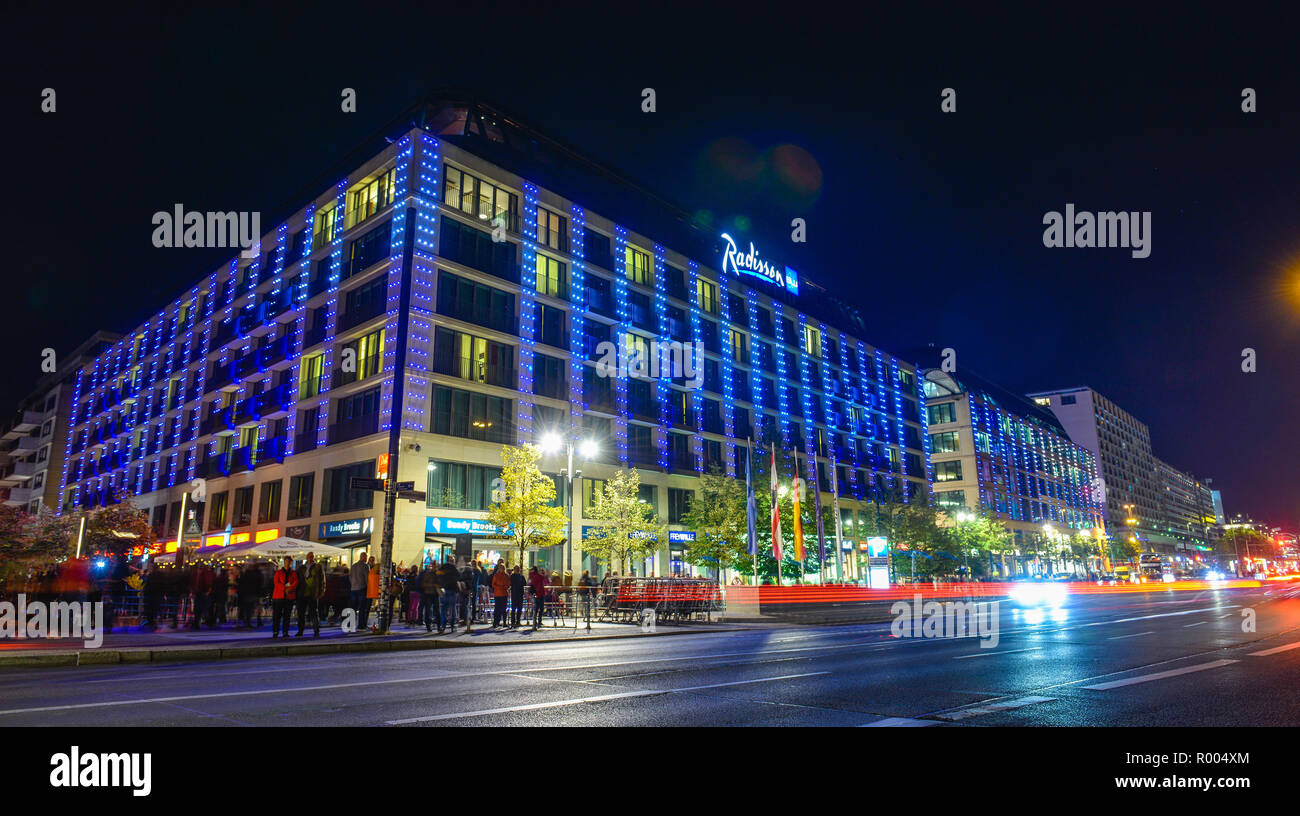 Festival of Lights, hotel of Radisson Blu, Karl's Liebknecht street, middle, Berlin, Germany, Hotel Radisson Blu, Karl-Liebknecht-Strasse, Mitte, Deut - Stock Image