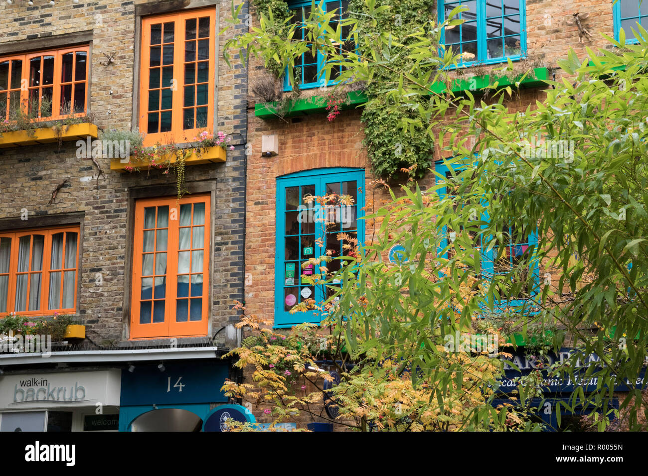 Neil's Yard: orange and blue coloured shutters Stock Photo