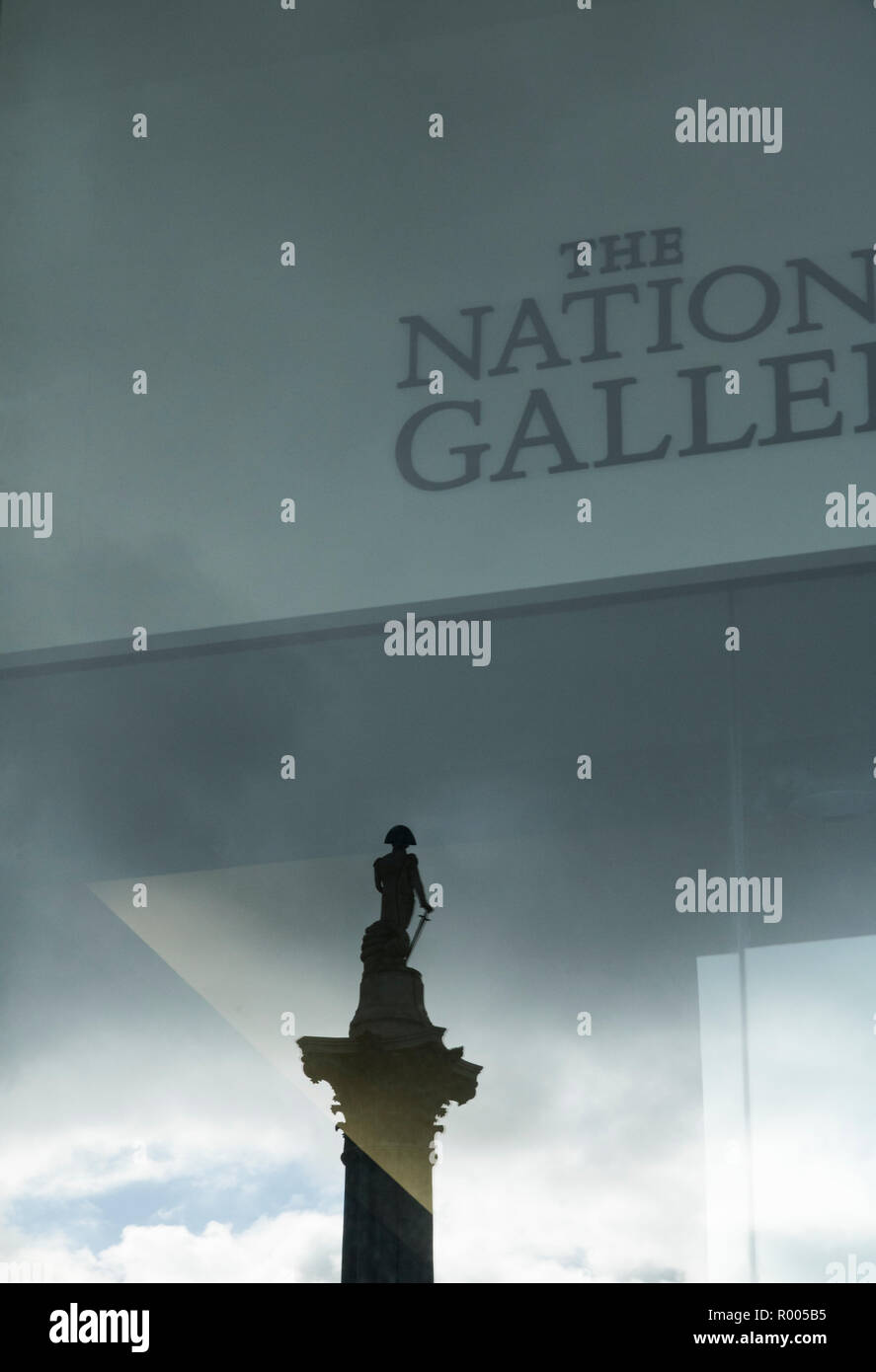 Reflection of Lord Nelson, The National Gallery, Trafalgar Square, London Stock Photo