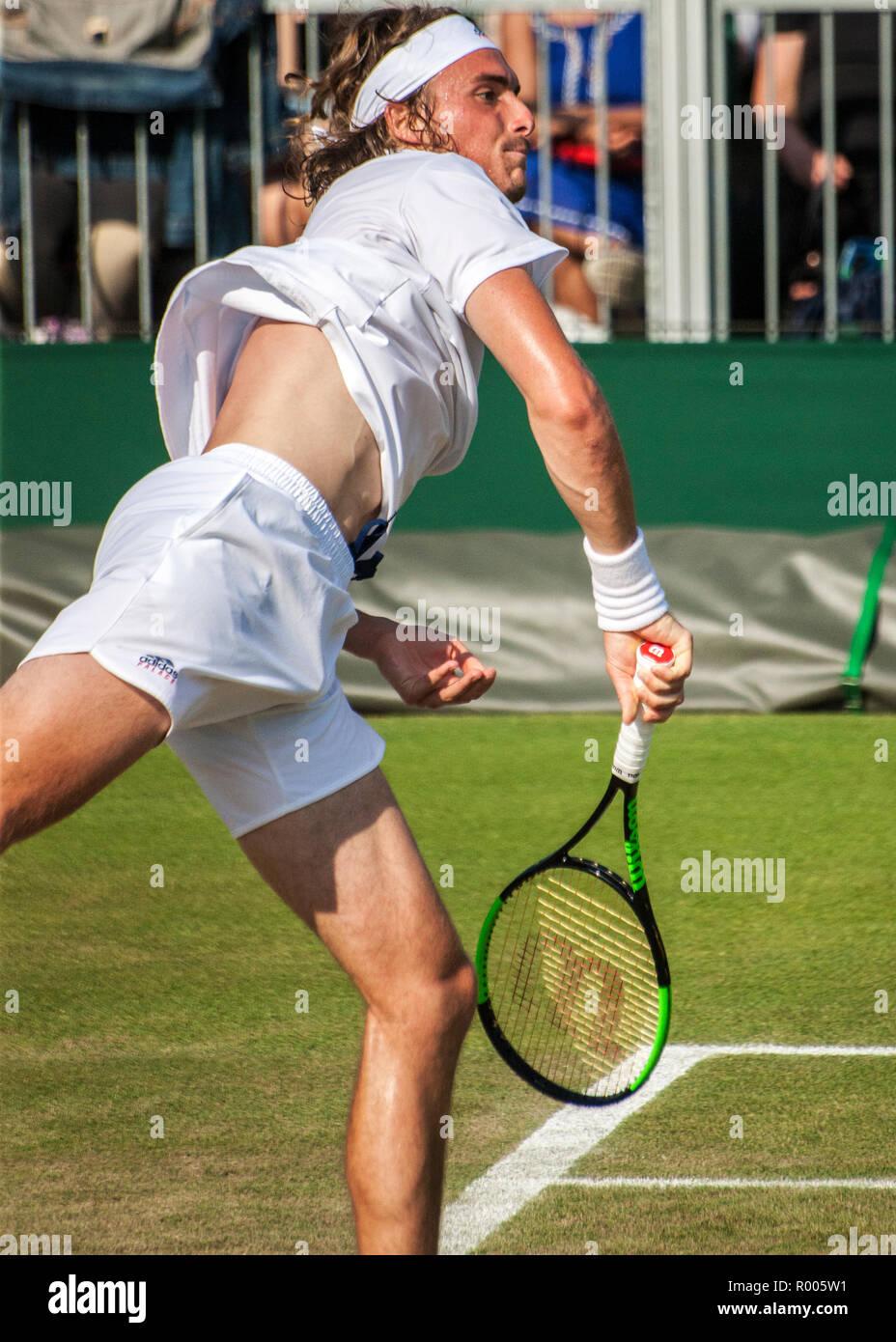 Stefanos Tsitsipas male tennis player Wimbledon 2018 Stock Photo