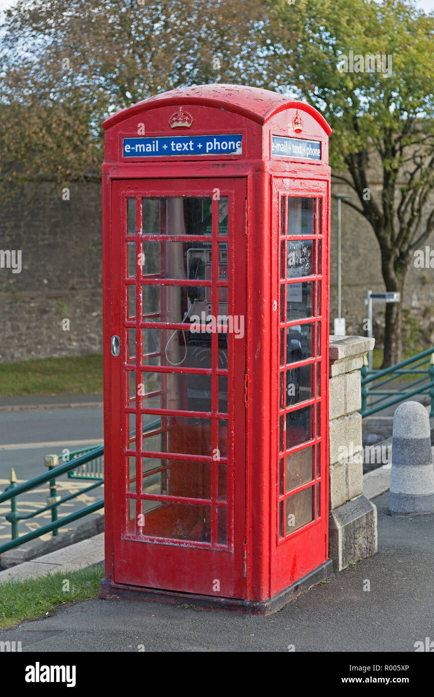 traditional telephone booth, Plymouth, Devon, England, Great Britain - Stock Image