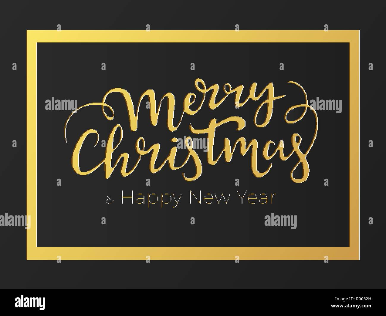 Fashionable typographical festive card design for winter holidays with golden foil and black premium paper background and Merry Christmas and Happy Ne - Stock Image