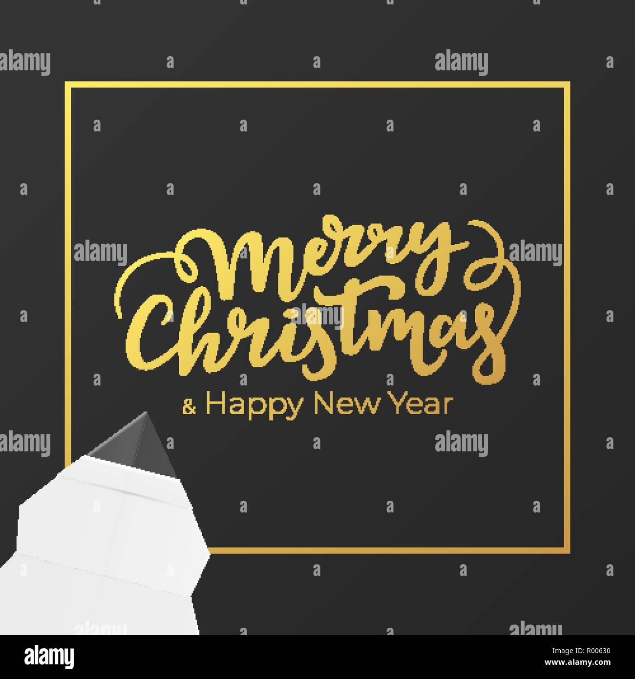 Christmas card design with gold lettering and foil frame. Festive postcard for winter holidays. Background of black premium paper with New year gratte - Stock Image
