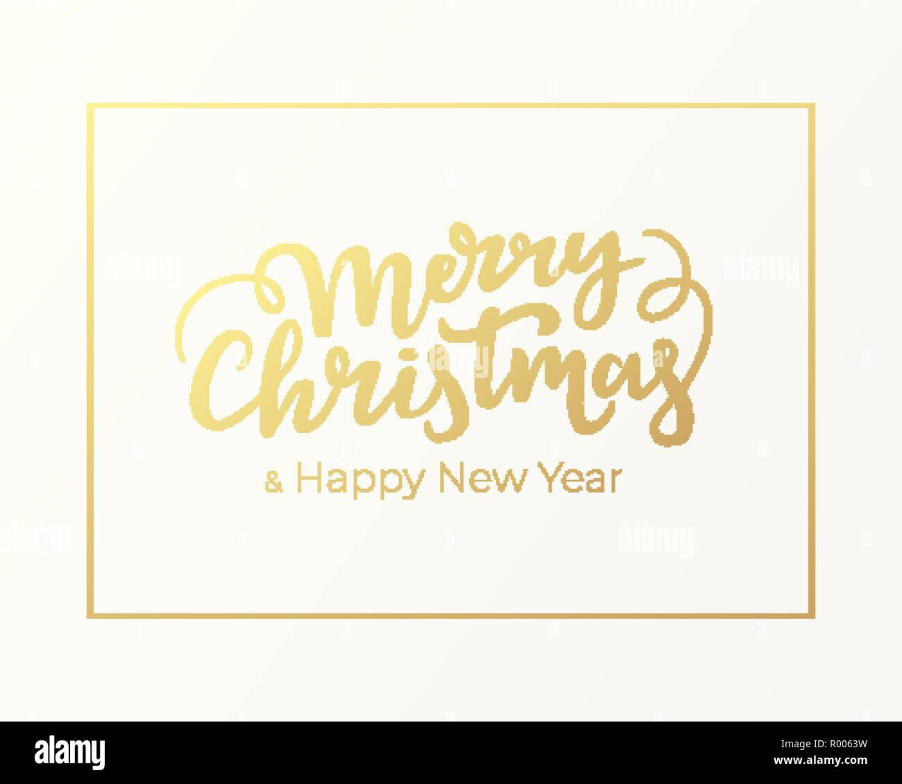 Typographical festive greeting postcard design for Christmas and New Year. Winter holidays card with golden frame and lettering on background of light - Stock Image