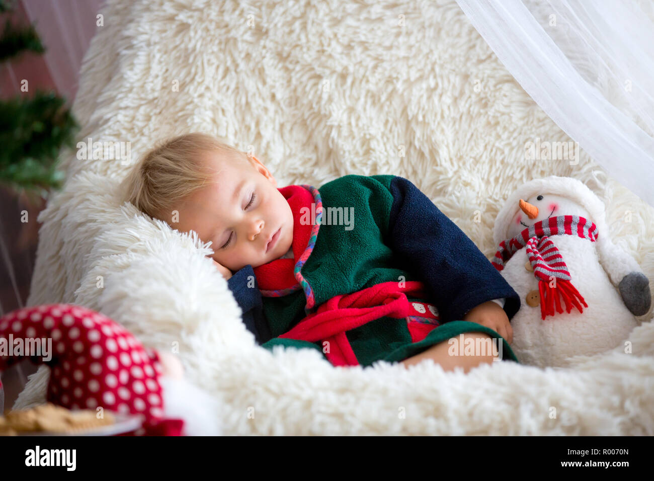 Astonishing Baby Boy Cute Child Wearing Santa Claus Robe Sitting In Creativecarmelina Interior Chair Design Creativecarmelinacom