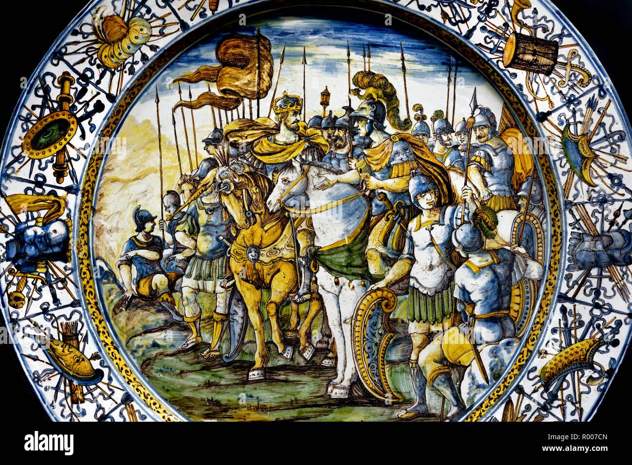 Two Caesars, 1650-1660 Francesco Grue, D'Abruzzo Castelli,Two Caesars, Maiolica 17th Century Museum of Ancient Art in the Castello Sforzesco - Sforza Castle in Milan Italy - Stock Image