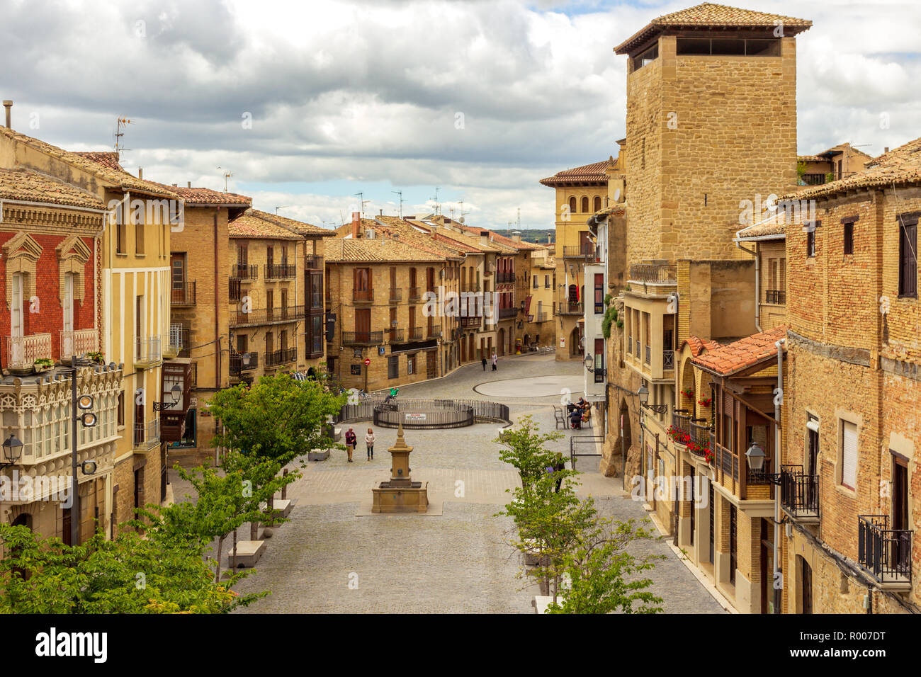 Main street in the Spanish medieval village of Olite, Navarre, Spain Stock Photo