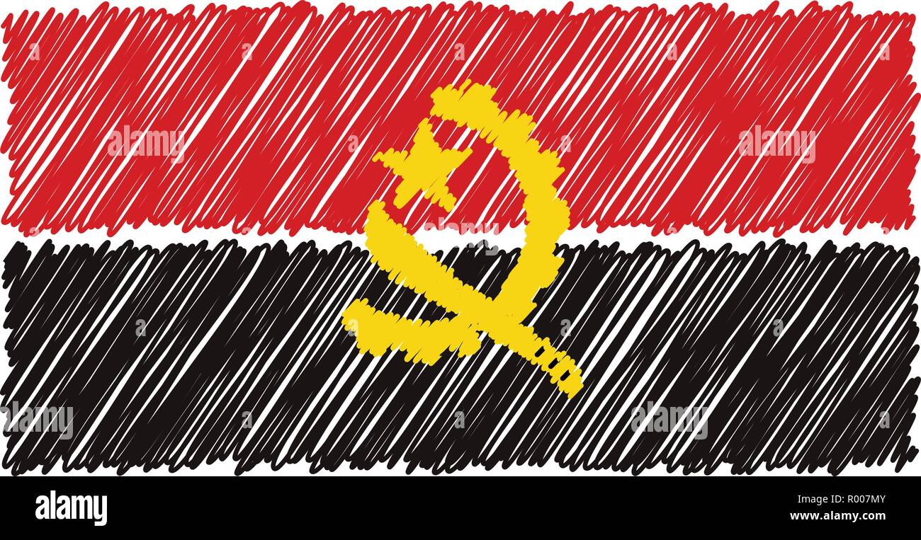 Hand Drawn National Flag Of Angola Isolated On A White Background. Vector Sketch Style Illustration. - Stock Vector