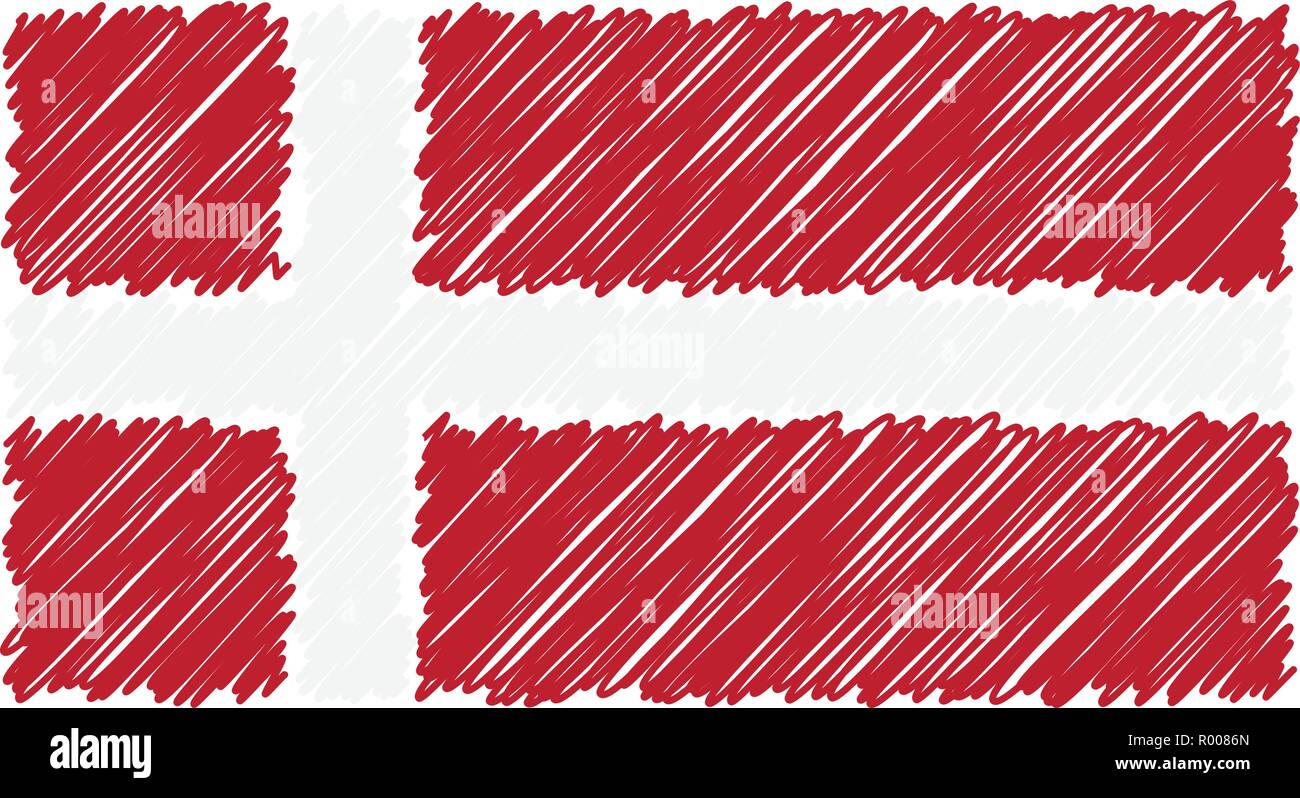 Hand Drawn National Flag Of Denmark Isolated On A White Background. Vector Sketch Style Illustration. - Stock Vector