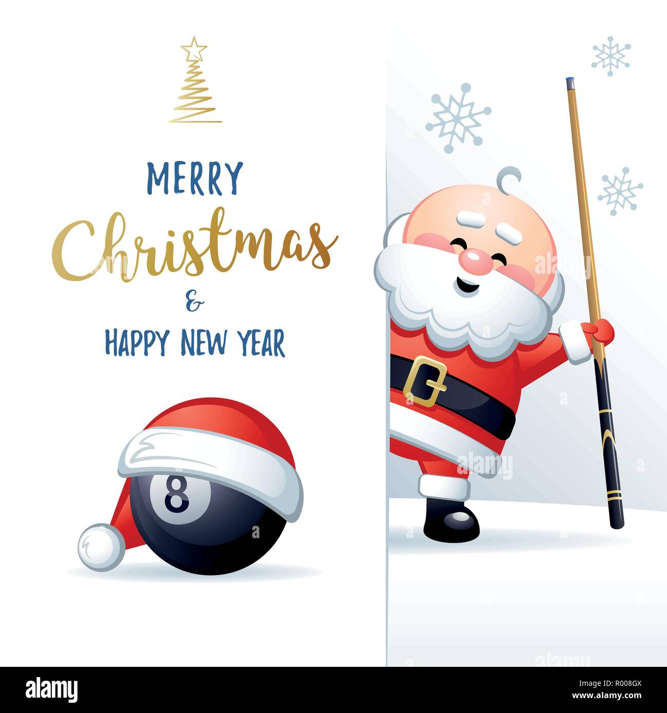 Merry Christmas and Happy New Year. Sports greeting card. Cute Santa Claus with Billiard ball and cue. Vector illustration. - Stock Image