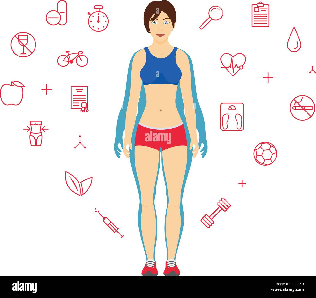 woman body transformation concept girl before and after diet or