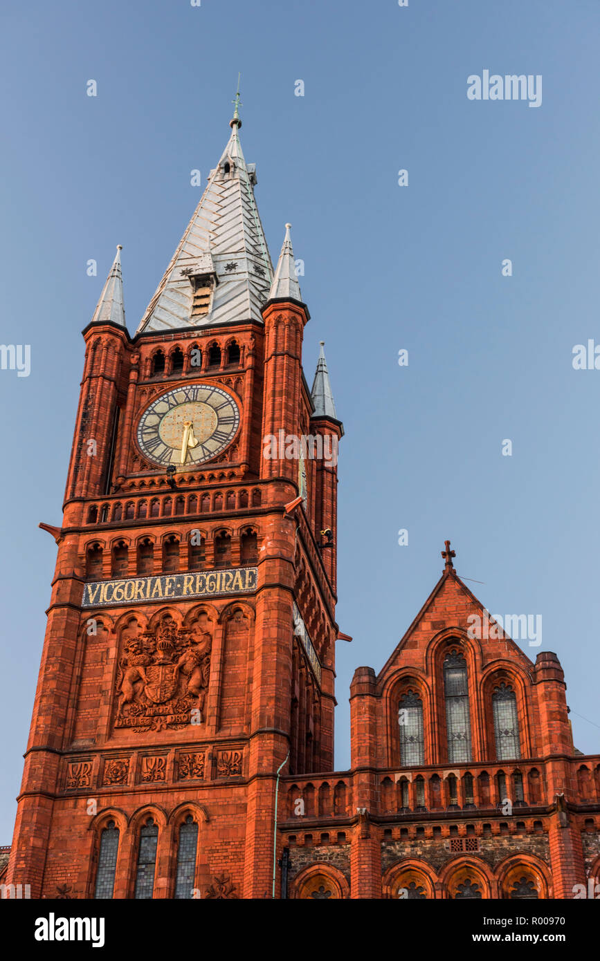 The Victoria Building clock tower, Brownlow Hill, University of Liverpool, Merseyside - Stock Image
