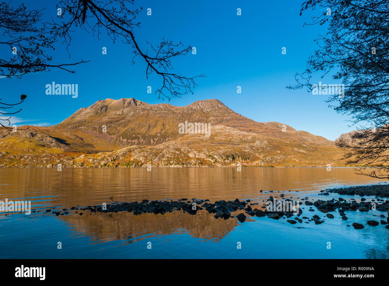 Siloch reflection in Loch Maree, Wester Ross, Scottish Highlands - Stock Image