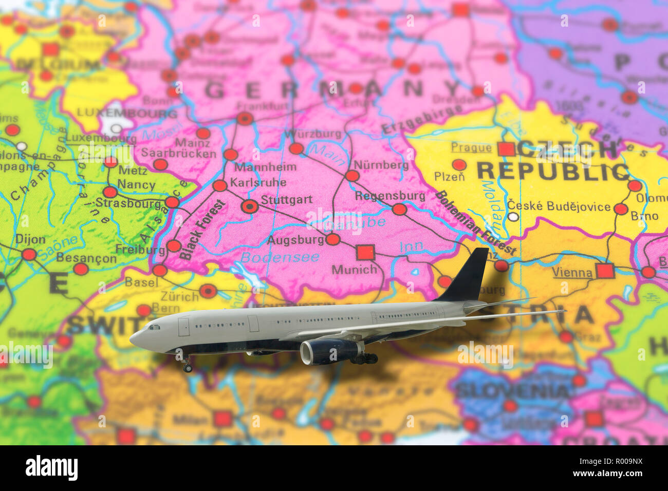 Munich in Germany pinned flight travel of plane on colorful ...