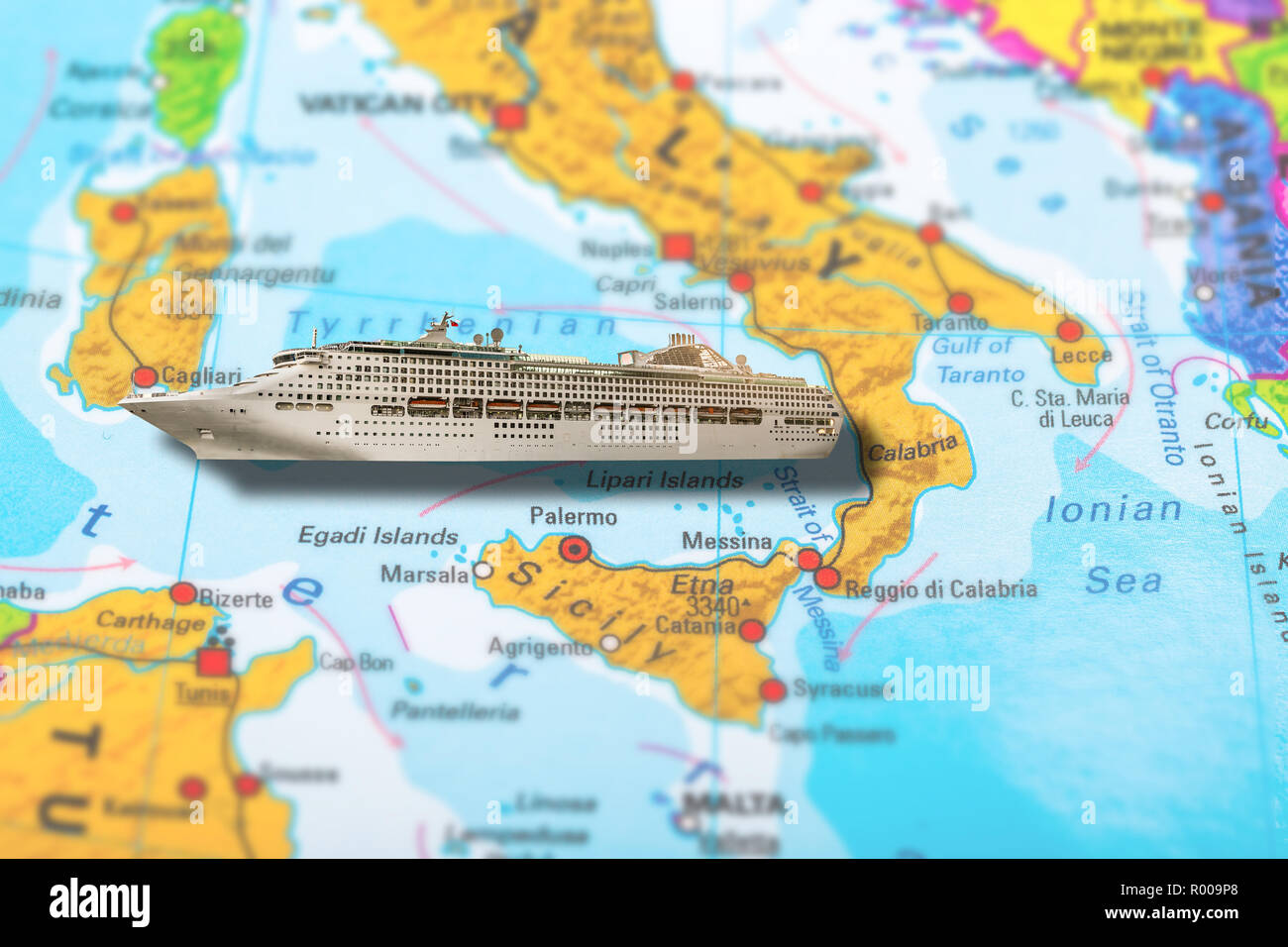 Cruise Ship Travel On Colorful Political Map Of Europe To Italy