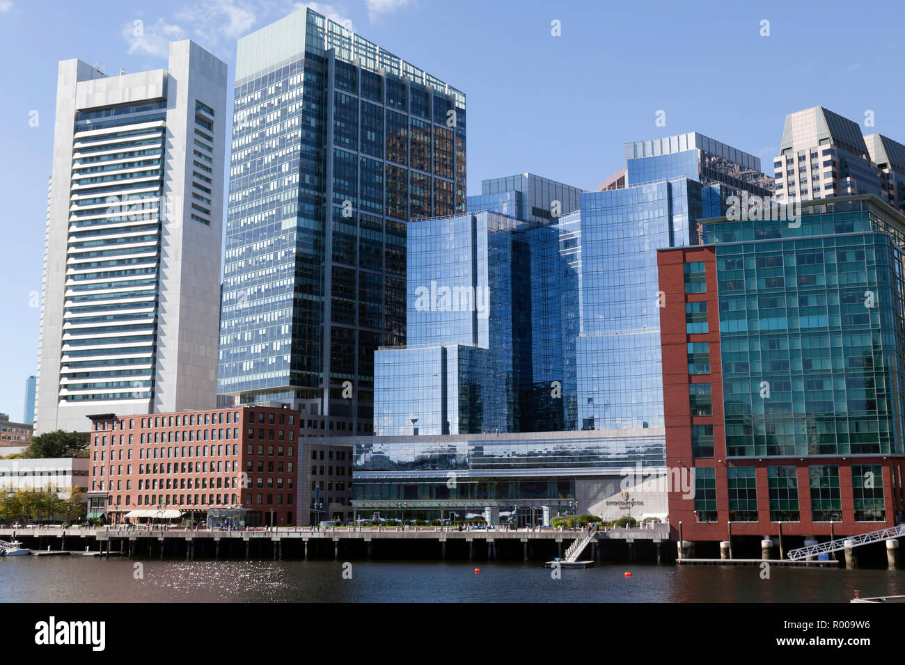 View of the Intercontinental Hotel  across the Fort Point Channel, in downtown Boston Stock Photo