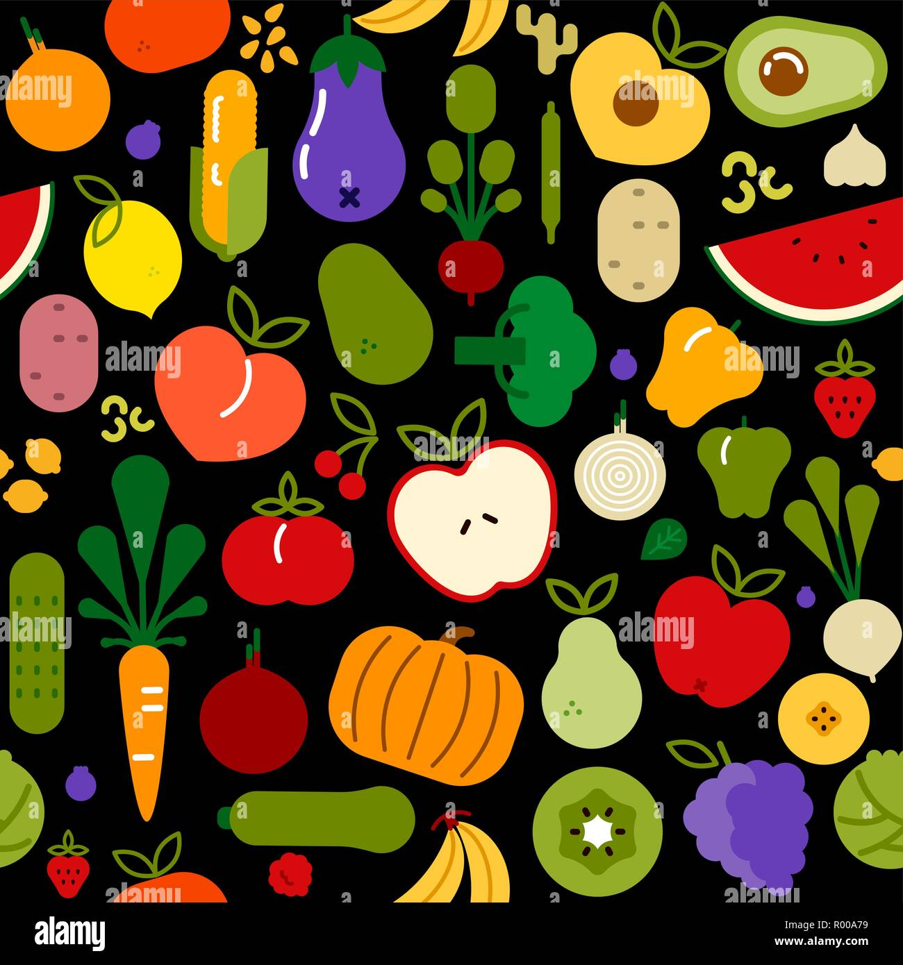 Vegetarian food icon seamless pattern with colorful flat