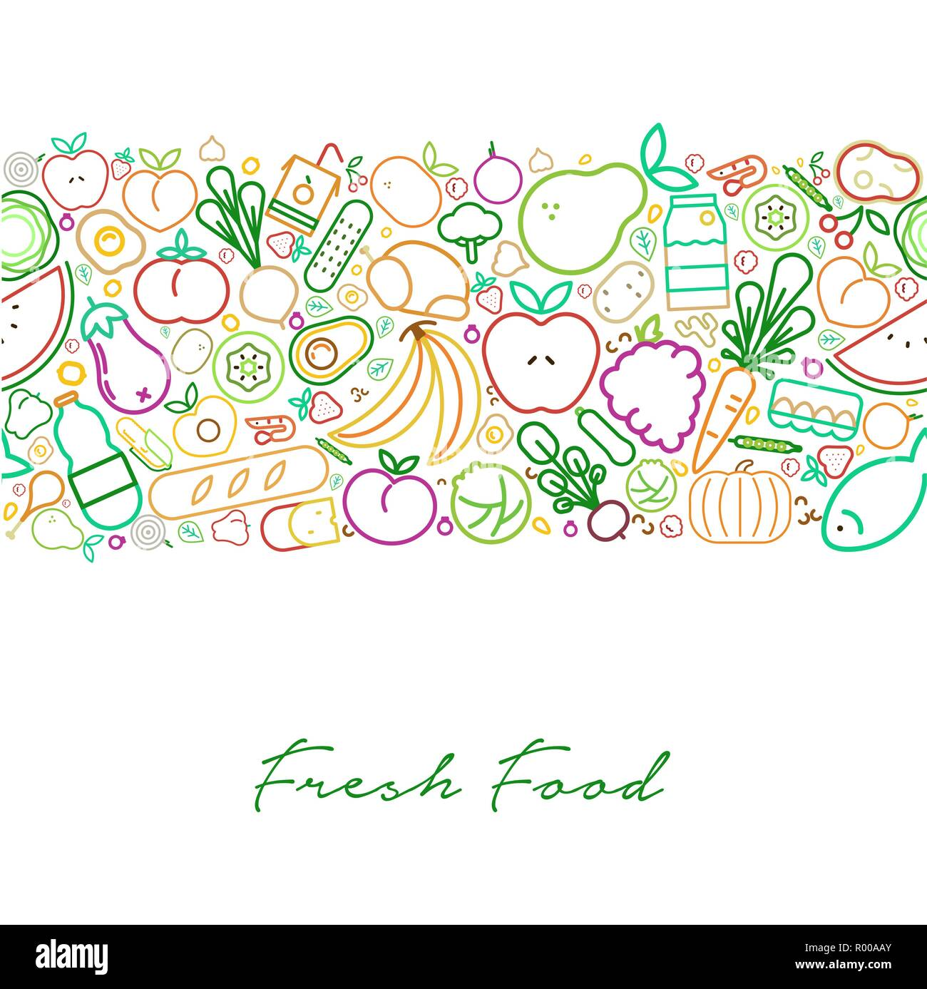 Fresh Food Illustration Background For Nutrition And Healthy Diet With Colorful Outline Style Icons Restaurant Menu Design Background Raw Gourmet Sty Stock Vector Image Art Alamy