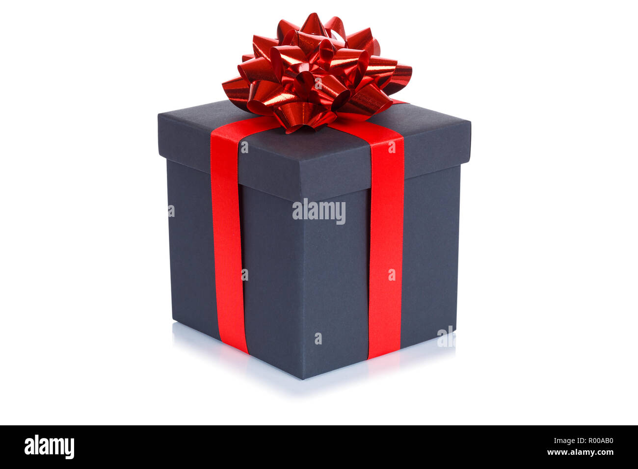 Birthday gift christmas present black box isolated on a white background - Stock Image