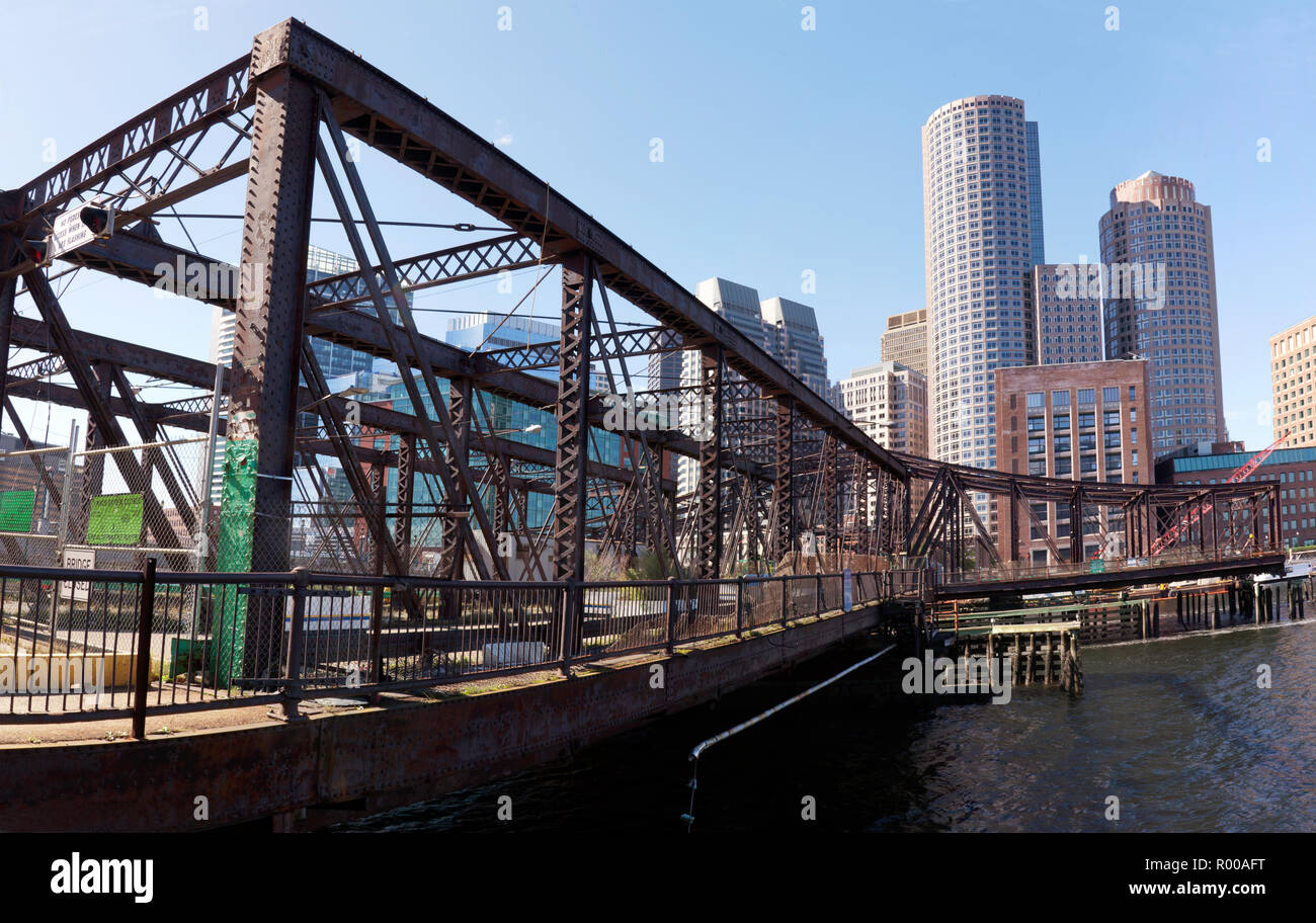 Panoramic view of the Northern Avenue Bridge,  that spans Fort Point Channel Boston, Massachusetts Stock Photo