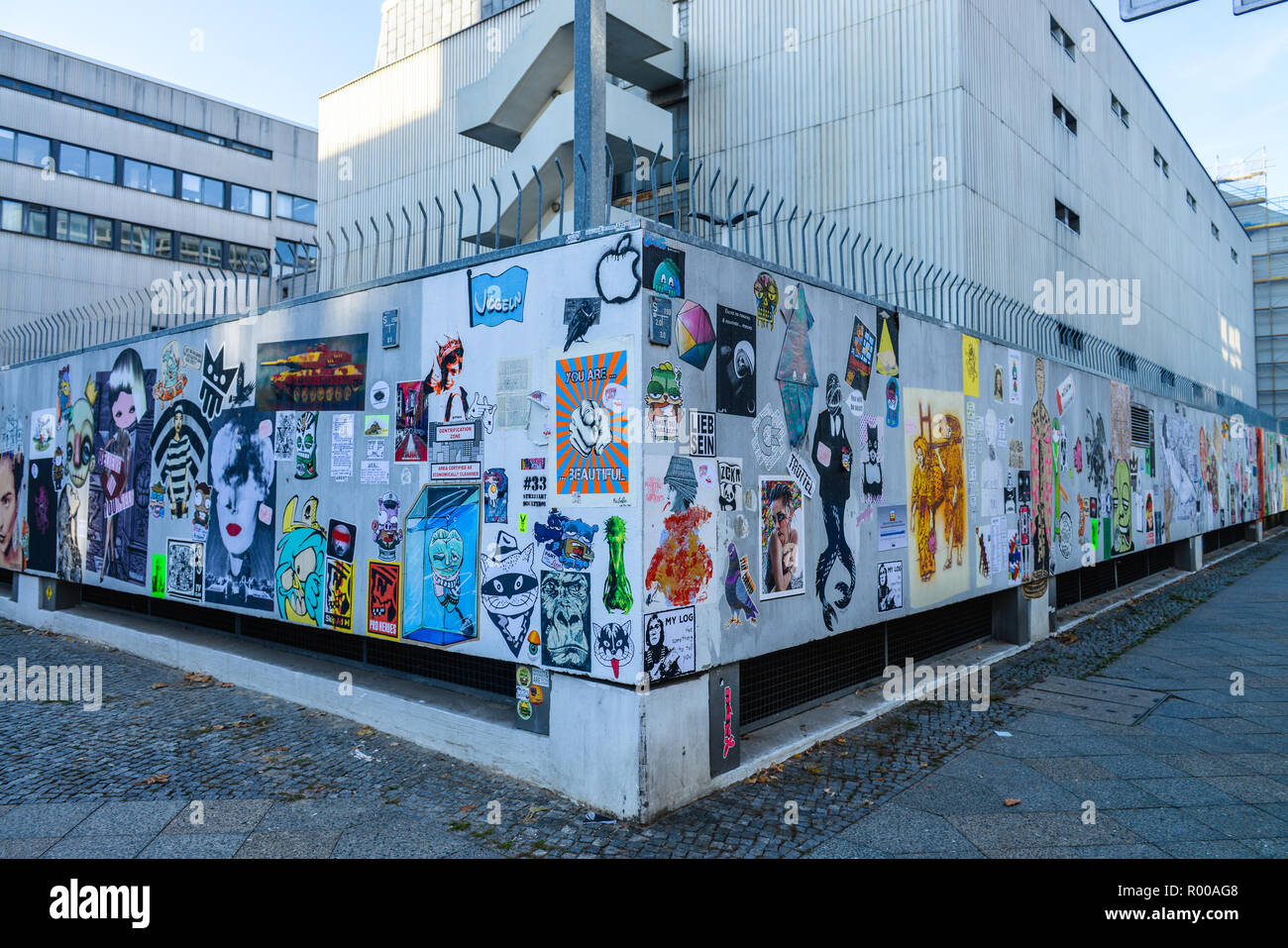 Paste up festival, German opera, crooked street, Zillestrasse, Charlottenburg, Berlin, Germany, Paste-up-Festival, Deutsche Oper, Krumme Strasse, Deut Stock Photo