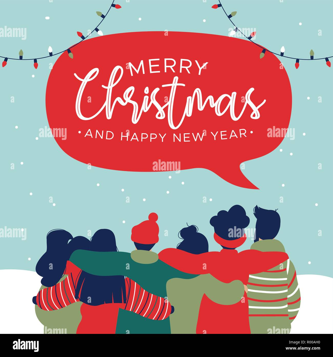 merry christmas and happy new year greeting card illustration with diverse friend group of young people hugging together for holiday celebration