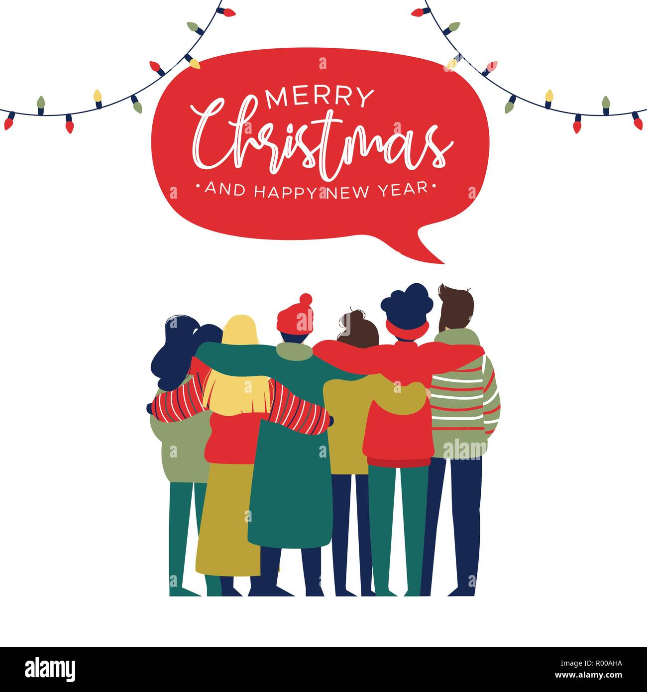 merry christmas and happy new year greeting card illustration of young people friend group hugging together at holiday party diverse culture friends