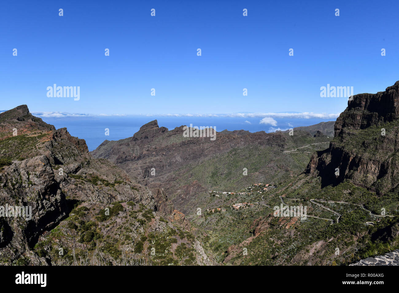 Spain; Canary Islands: Tenerife. Winding mountain road in the Teno Rural Park. *** Local Caption *** Stock Photo