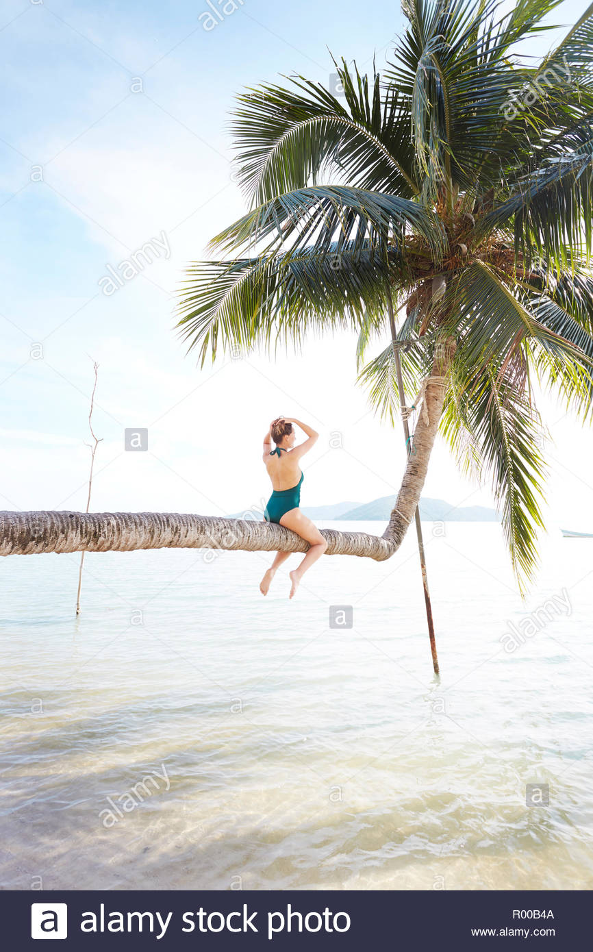Young woman sitting on palm tree at beach Stock Photo