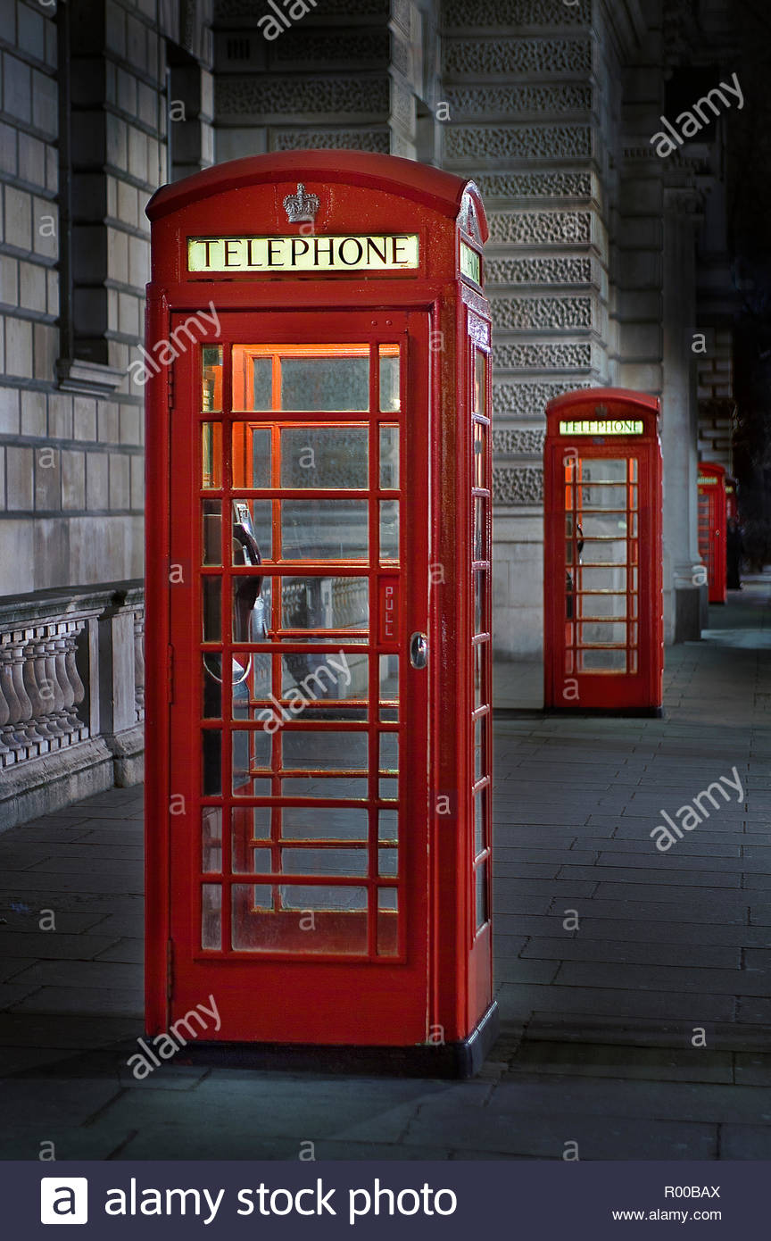 Red telephone box in London Stock Photo
