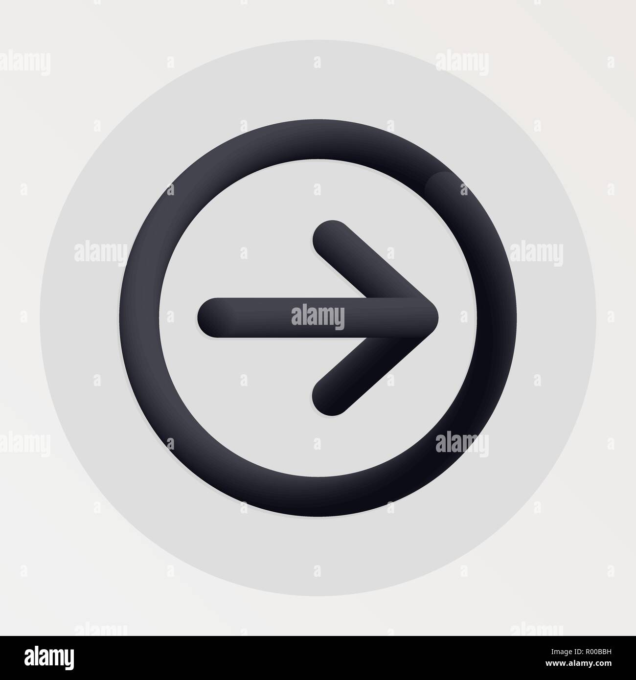 Arrow blended bold black line icon. Vector illustration of arrow shape fluid pictogram in a circle over white background for your design Stock Vector