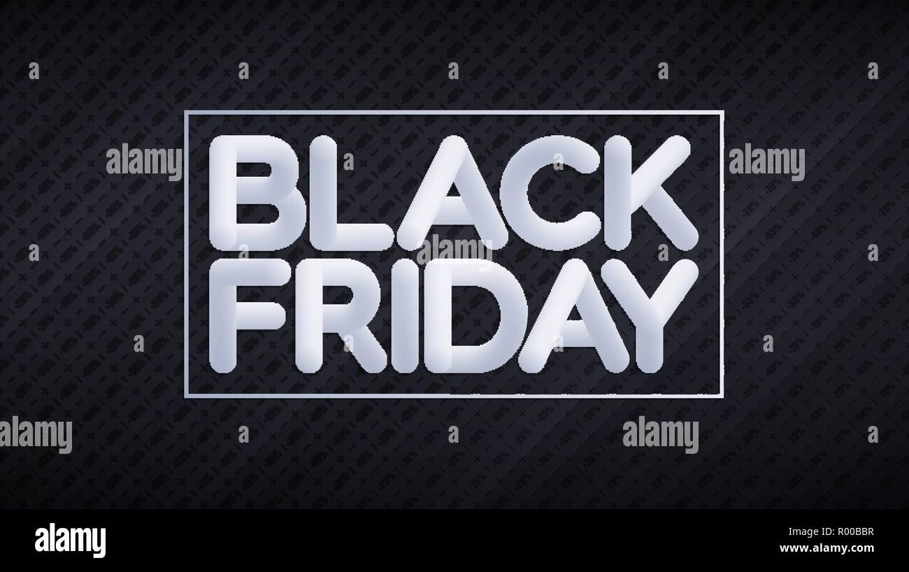 Black Friday sale banner. Biggest shopping day of the Year. Blended white lettering over black background with discount price tags pattern Stock Vector