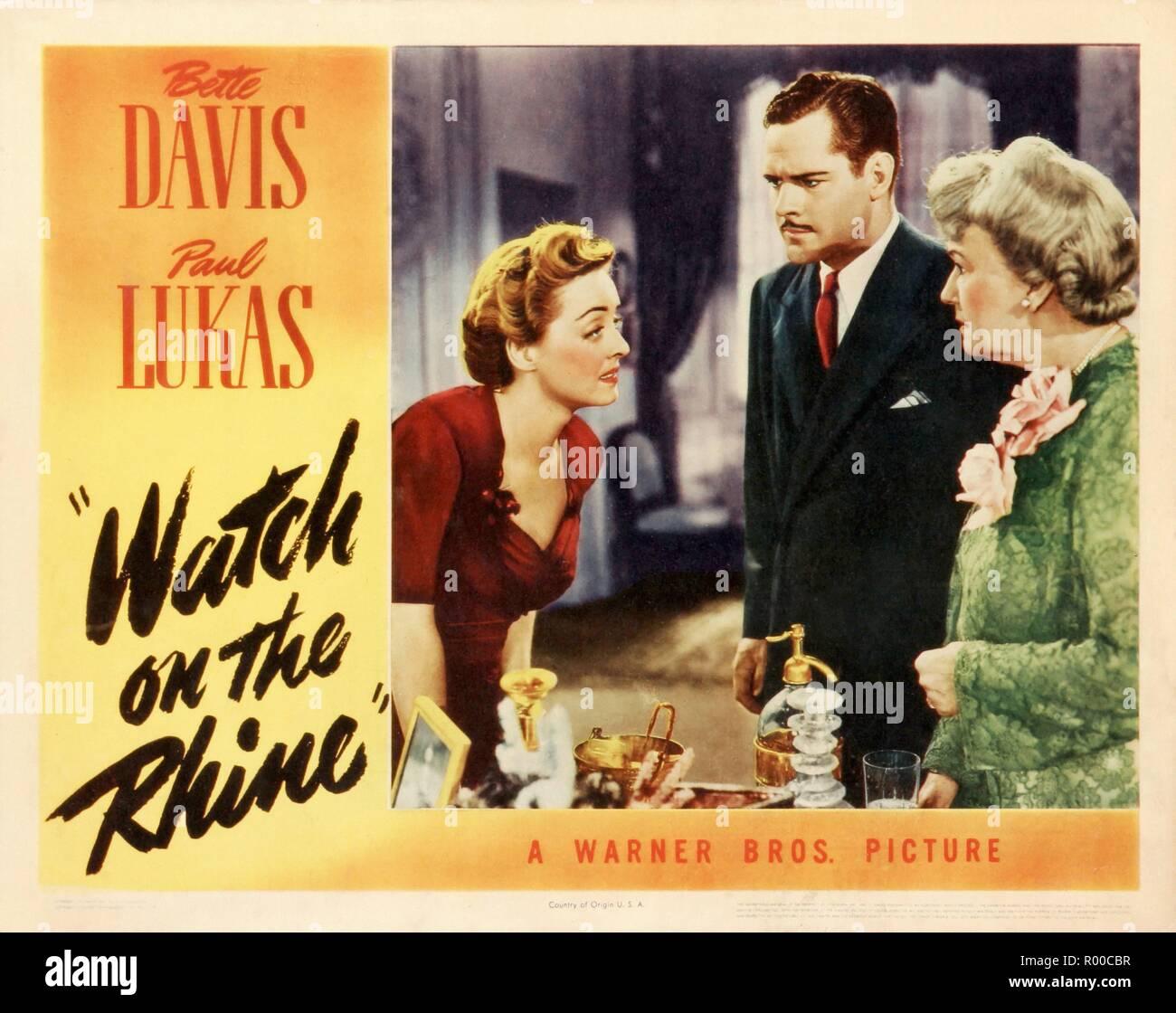 Watch on the Rhine  Year : 1943 USA Director : Herman Shumlin Bette Davis, Paul Lukas, Lucile Watson Lobbycard - Stock Image