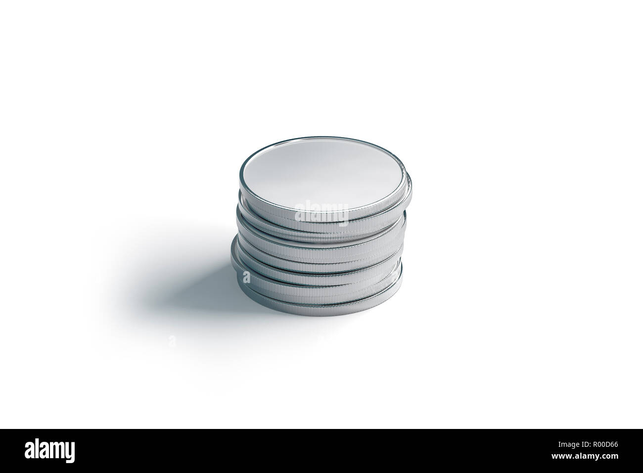 blank silver coin stack mock up isolated 3d rendering empty