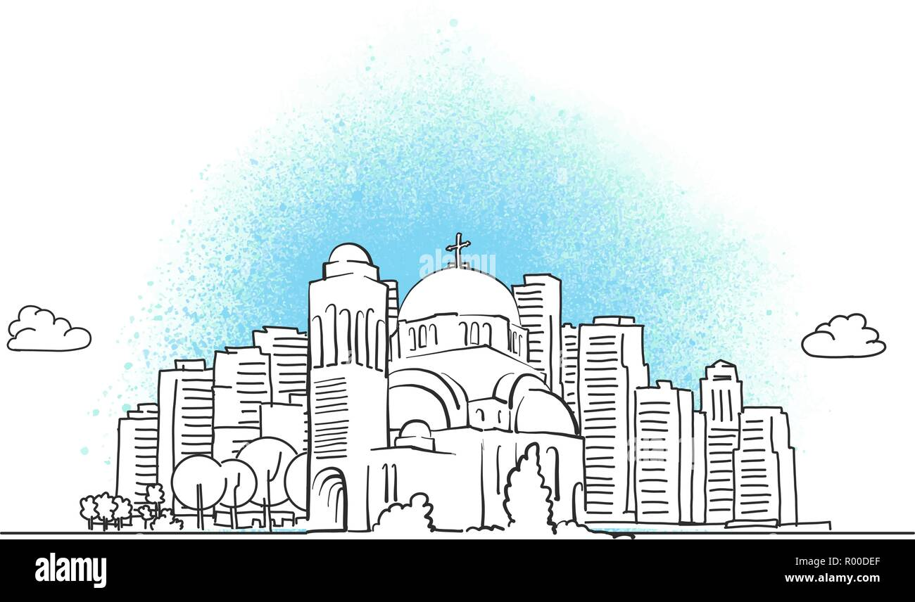 city skyline with orthodox church. Hand drawn vector illustration. - Stock Vector