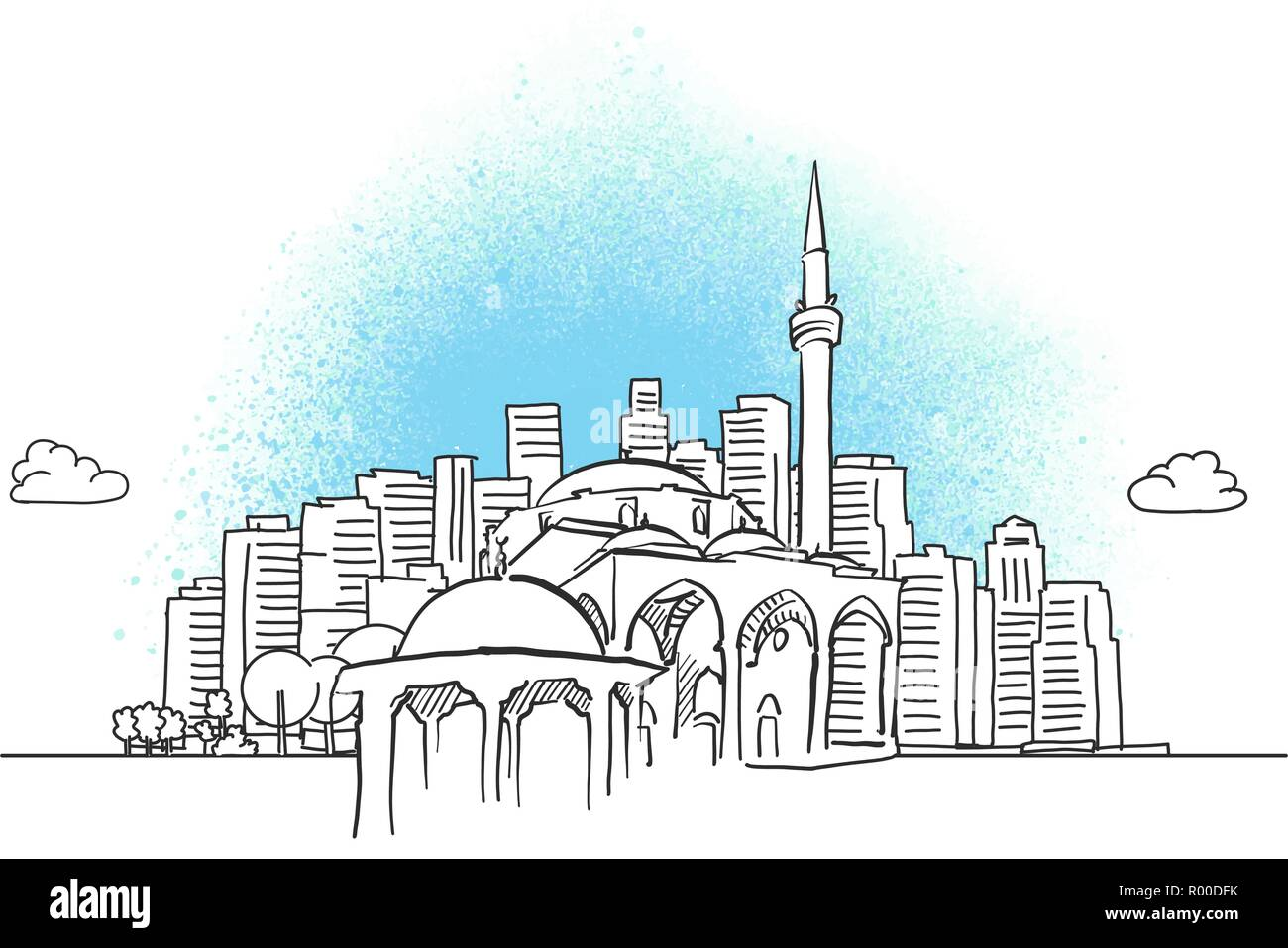 City skyline with historic mosque. Hand drawn vector illustration. - Stock Vector