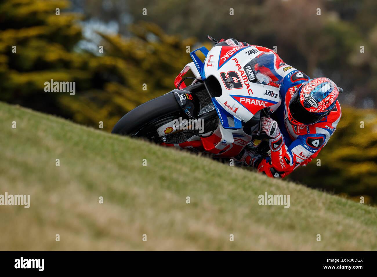 Friday, 26 October, 2018. Phillip Island, Australia. Danilo Petrucci, Alma Pramac Racing MotoGP Team. Free practice 2. - Stock Image