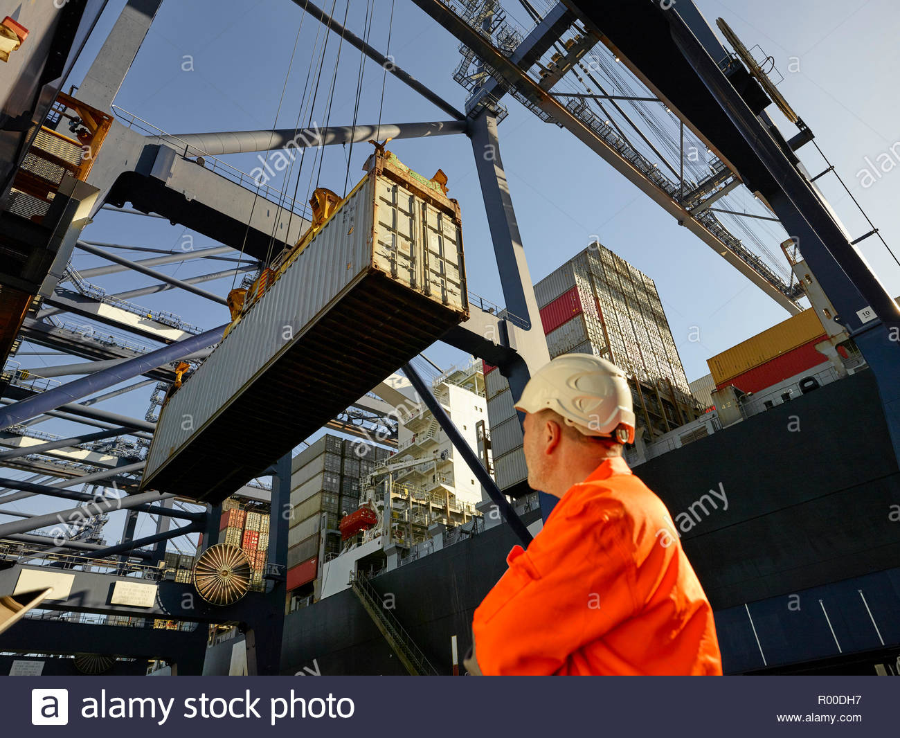 Dock worker watching cargo container being unloaded at Port of Felixstowe, England Stock Photo