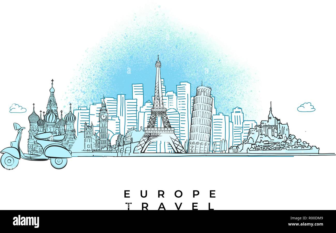 Europe Travel concept City skyline. Hand drawn vector illustration. - Stock Vector