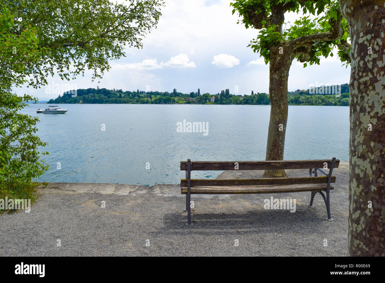 mainau island view through trees over lake constance, Bodensee, bench front of lake blue sky and island - Stock Image