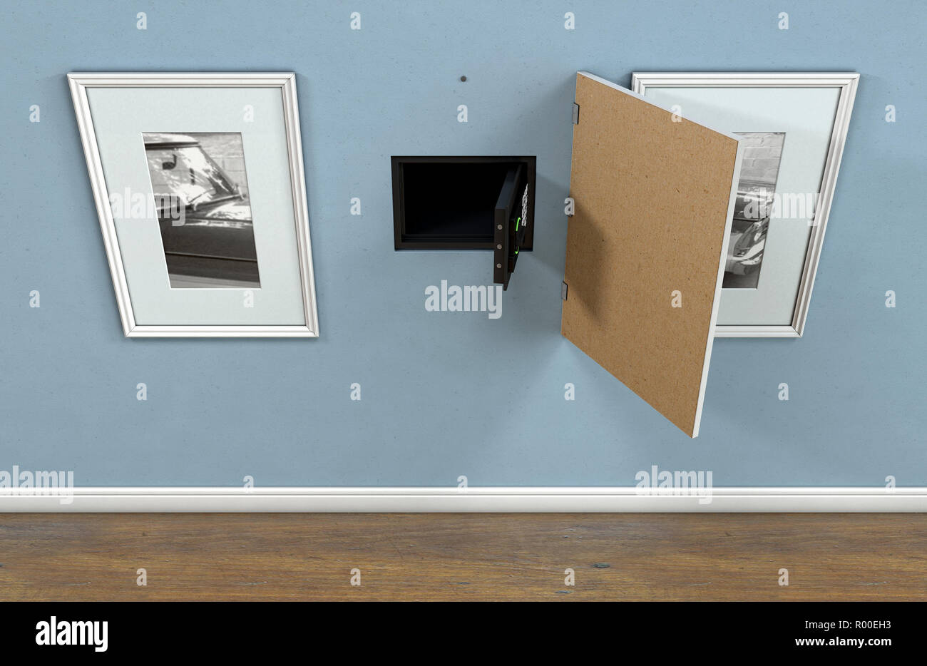 An Open Hidden Wall Safe Revealed Behind A Hanging Framed Picture On