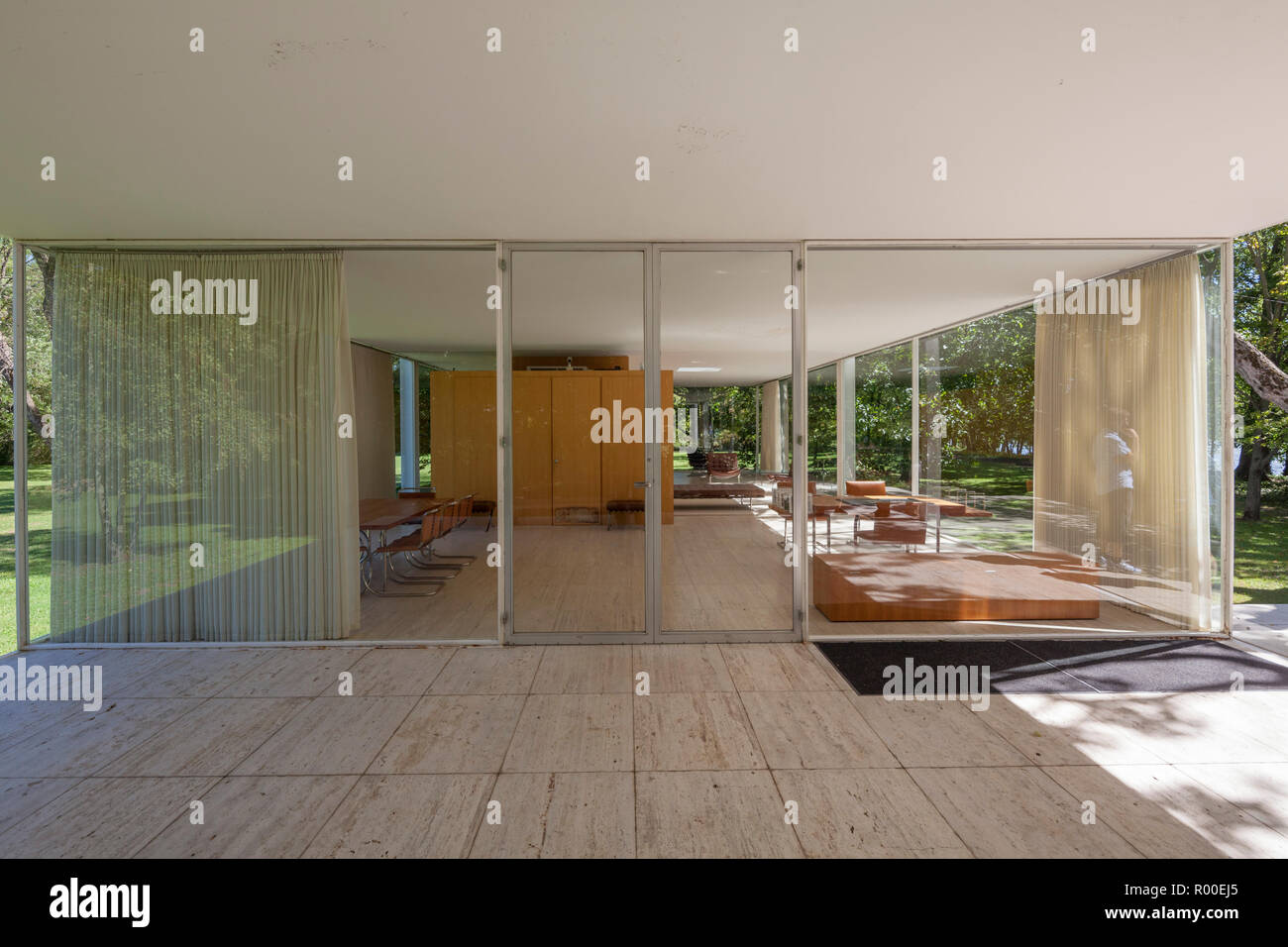 View towards interior of farnsworth house by architect ludwig mies van der rohe 1951 plano illinois usa